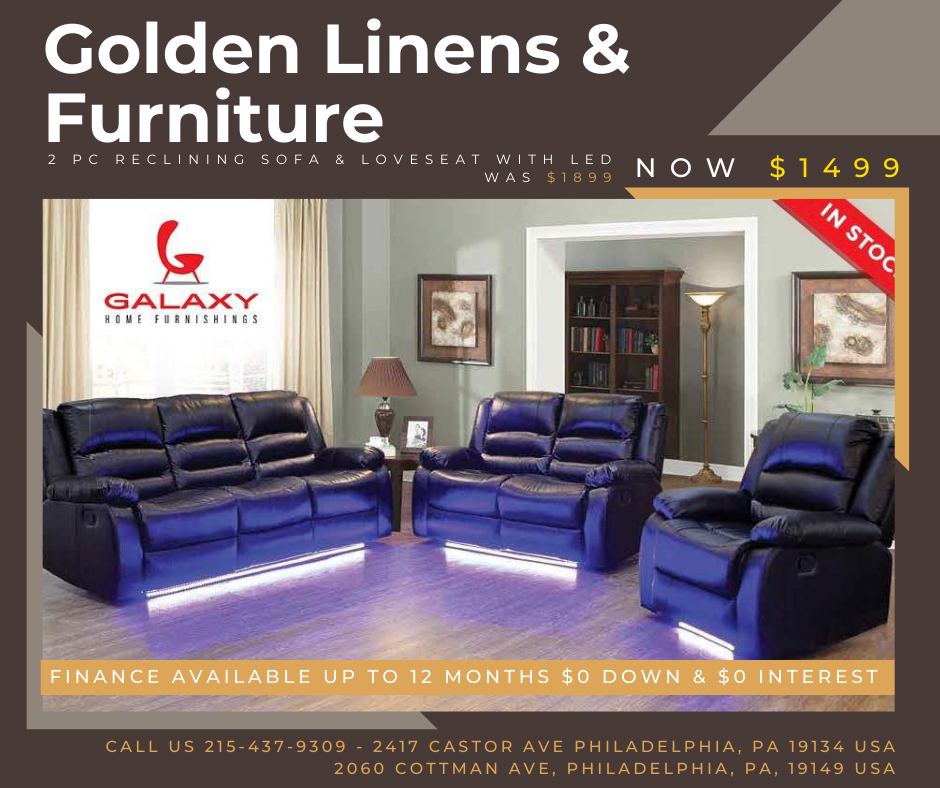 2 pieces reclining sofa & loveseat with LED - was $1899 - now $1499