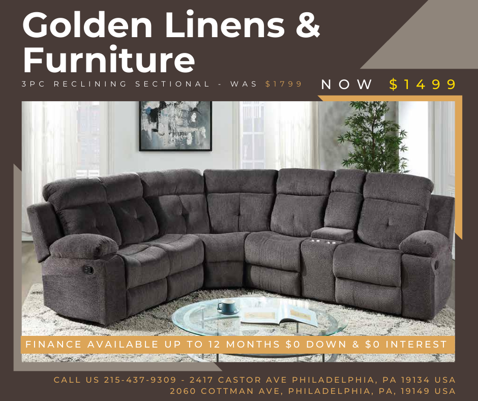 3 pieces reclining sectional - was $1799 - now $1499