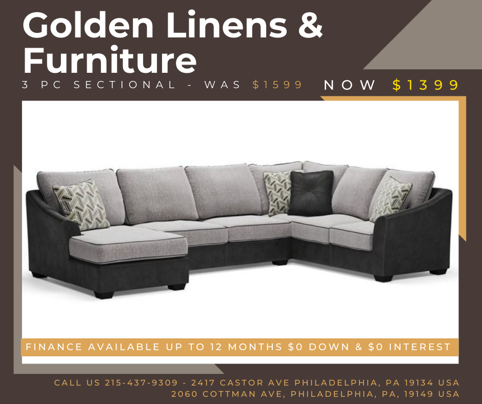 3 pieces sectional - was $1599 - now $1399
