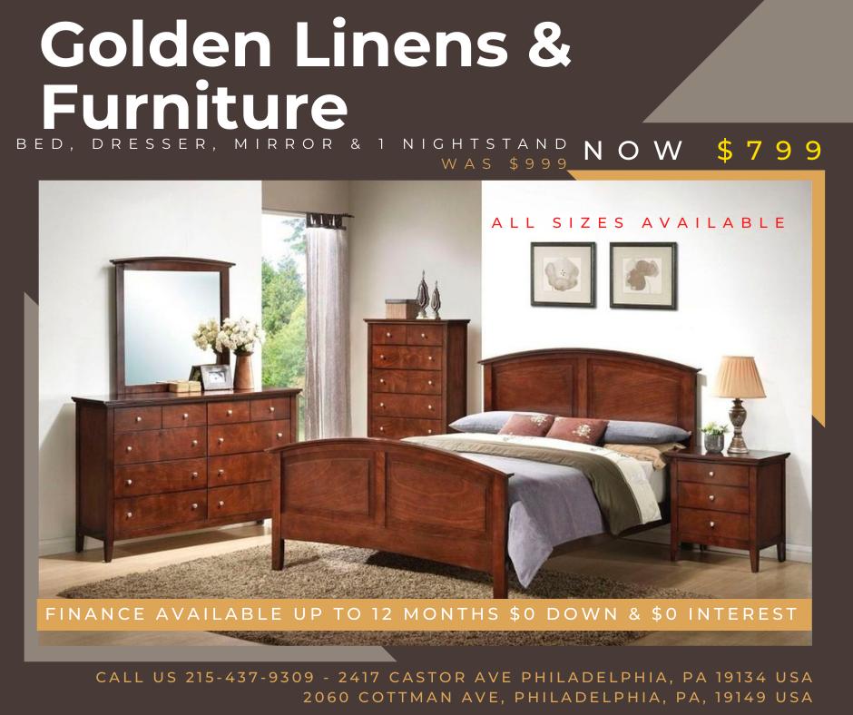 Bed, dresser, mirror & 1 nightstand was $999 - now $799