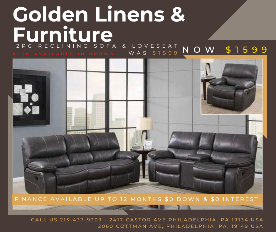 2 pieces reclining sofa & loveseat was $1899 - now $1599